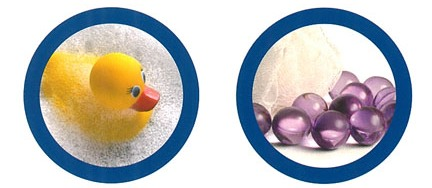 stock photo of rubber duck and bath beads